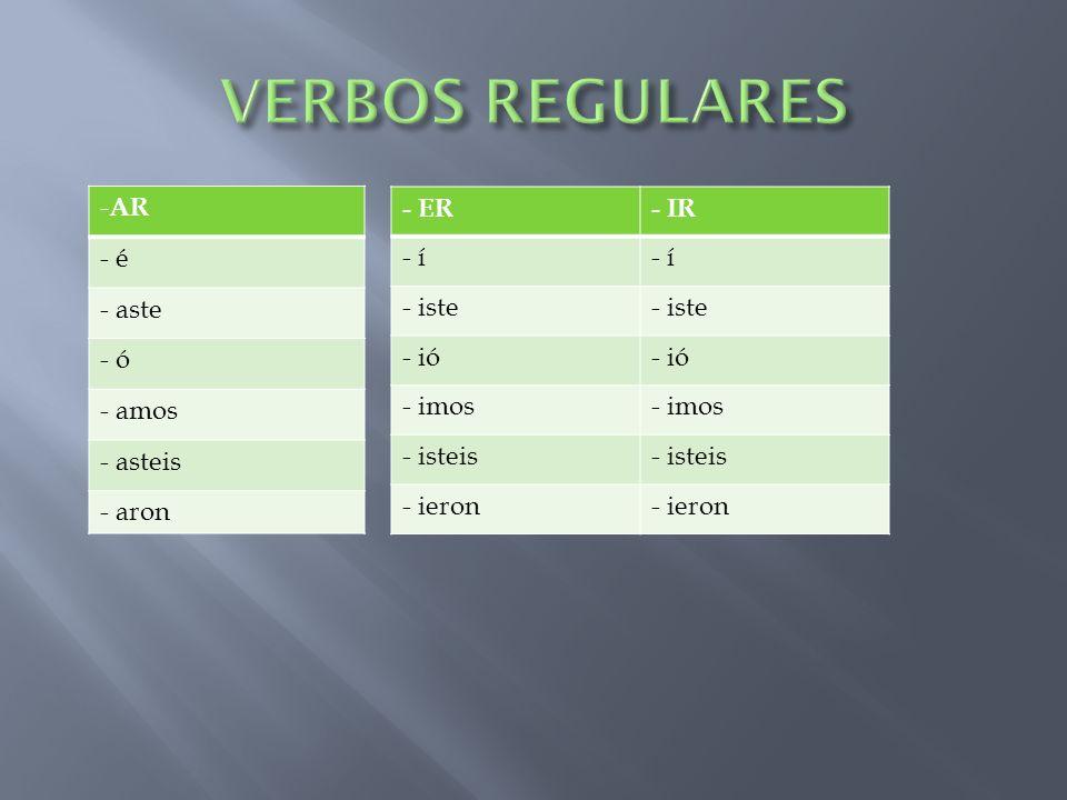 VERBOS REGULARES AR - é - aste - ó amos asteis aron - ER - IR - í