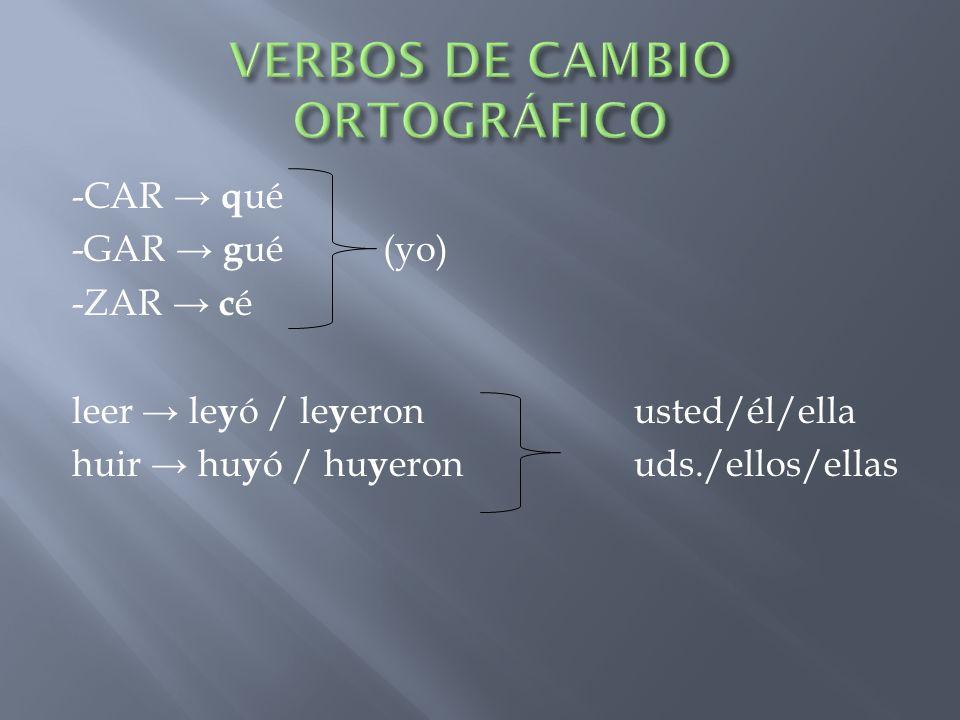 VERBOS DE CAMBIO ORTOGRÁFICO