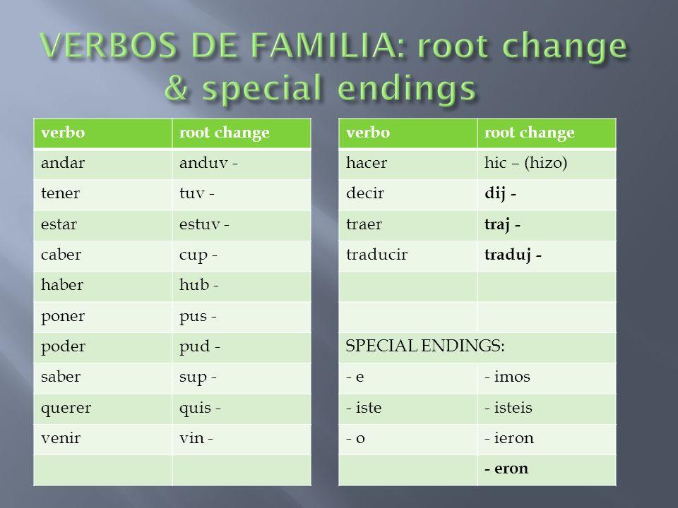 VERBOS DE FAMILIA: root change & special endings