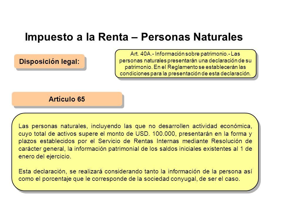 Impuesto a la Renta – Personas Naturales