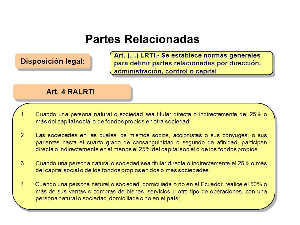 Partes Relacionadas Disposición legal: Art. 4 RALRTI