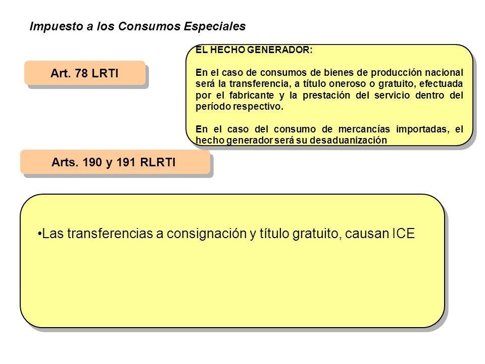 Las transferencias a consignación y título gratuito, causan ICE