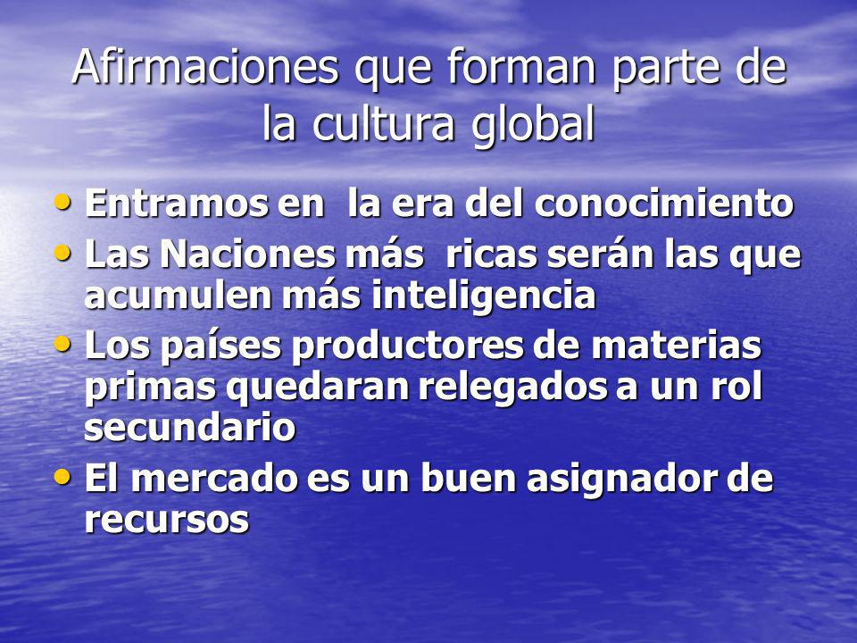 Afirmaciones que forman parte de la cultura global