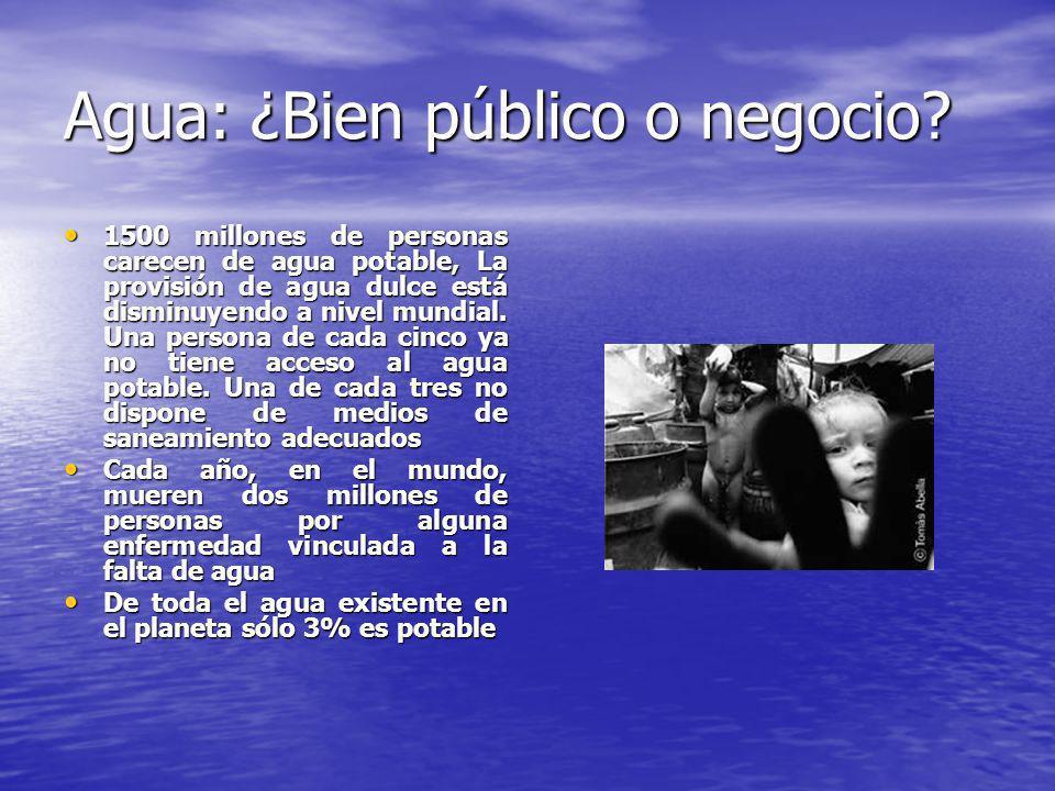 Agua: ¿Bien público o negocio