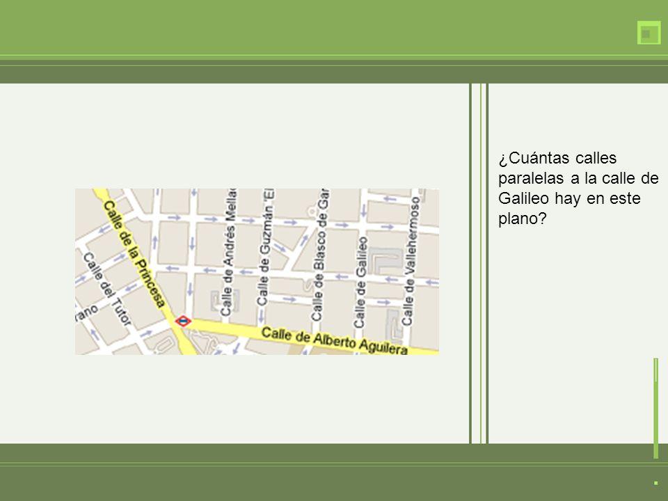 ¿Cuántas calles paralelas a la calle de Galileo hay en este plano