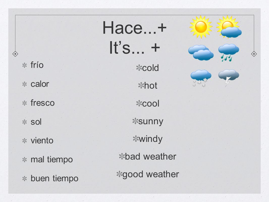Hace...+ It's... + cold hot cool sunny windy bad weather good weather