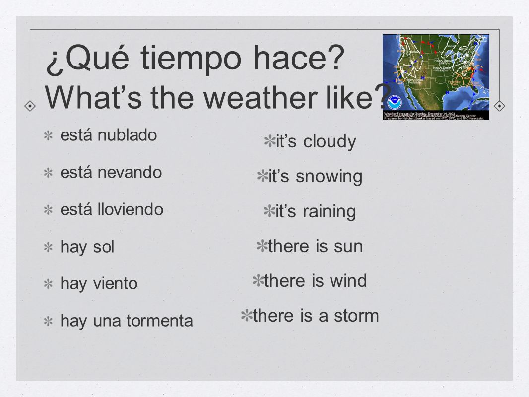 ¿Qué tiempo hace What's the weather like