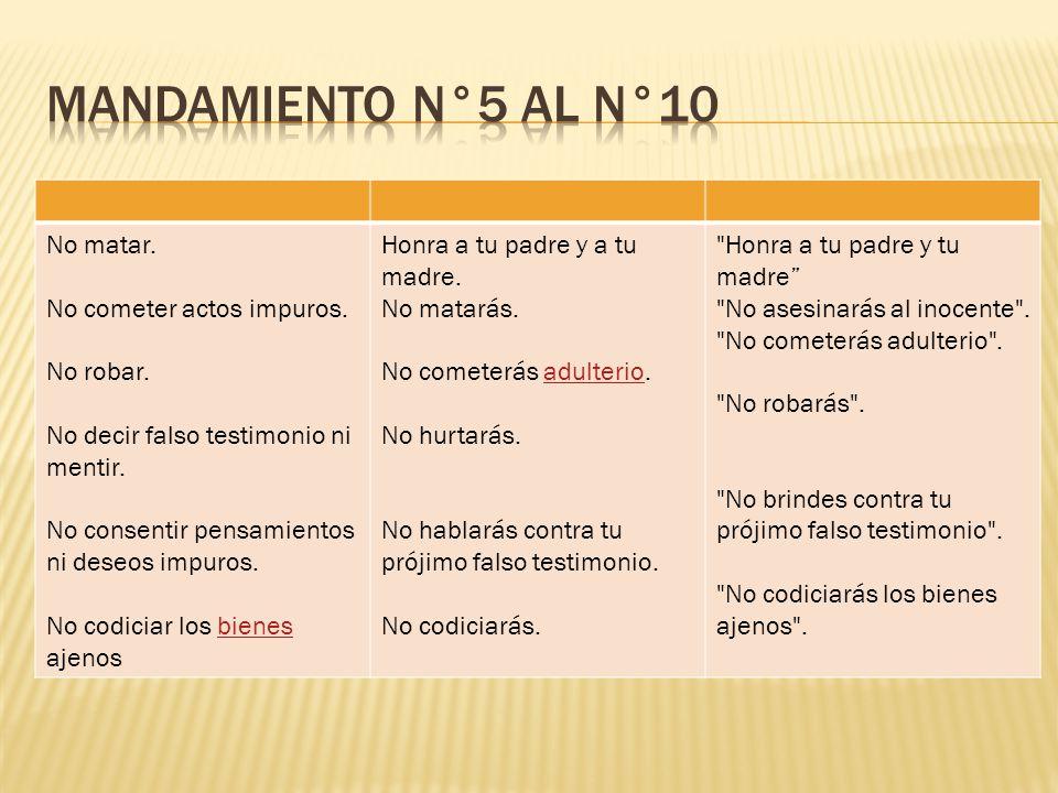 MANDAMIENTO N°5 AL N°10 No matar. No cometer actos impuros. No robar.