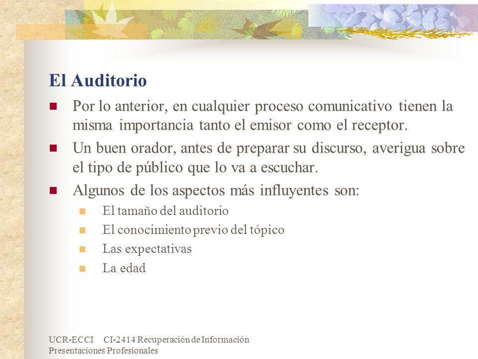 El Auditorio Por lo anterior, en cualquier proceso comunicativo tienen la misma importancia tanto el emisor como el receptor.