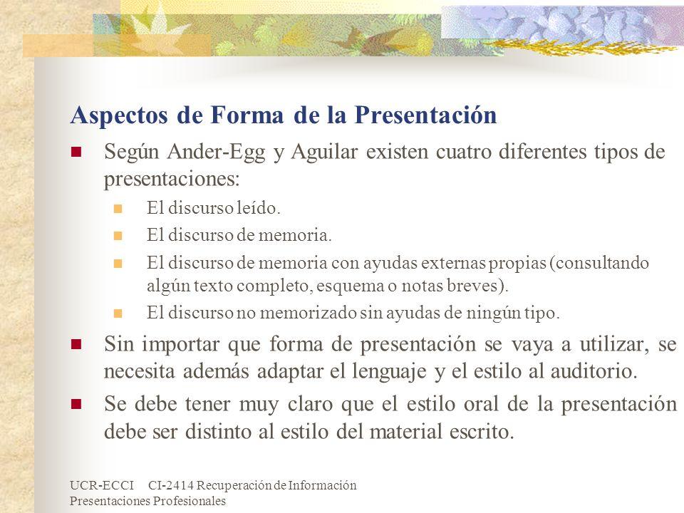 Aspectos de Forma de la Presentación