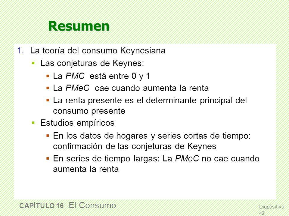 Resumen 1. La teoría del consumo Keynesiana Las conjeturas de Keynes: