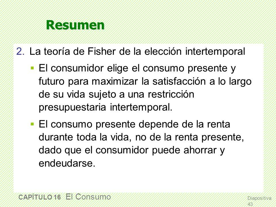 Resumen 2. La teoría de Fisher de la elección intertemporal