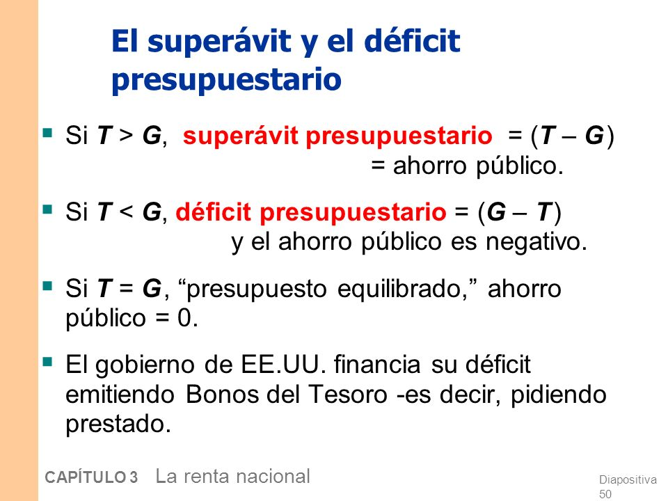 El superávit y el déficit presupuestario