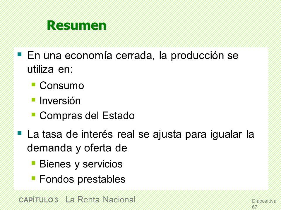 Resumen En una economía cerrada, la producción se utiliza en: