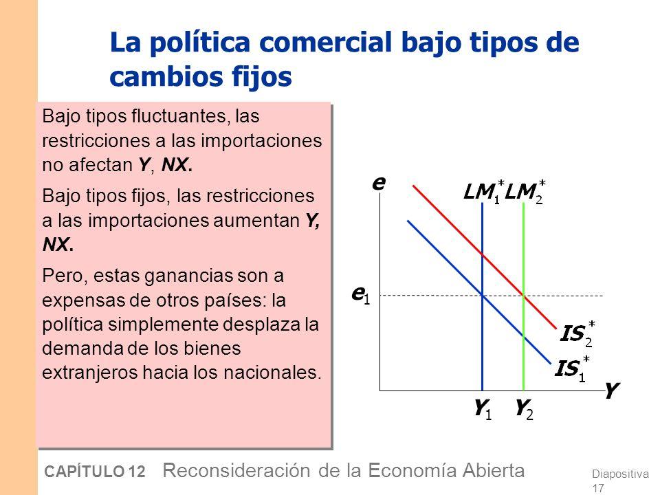 La política comercial bajo tipos de cambios fijos