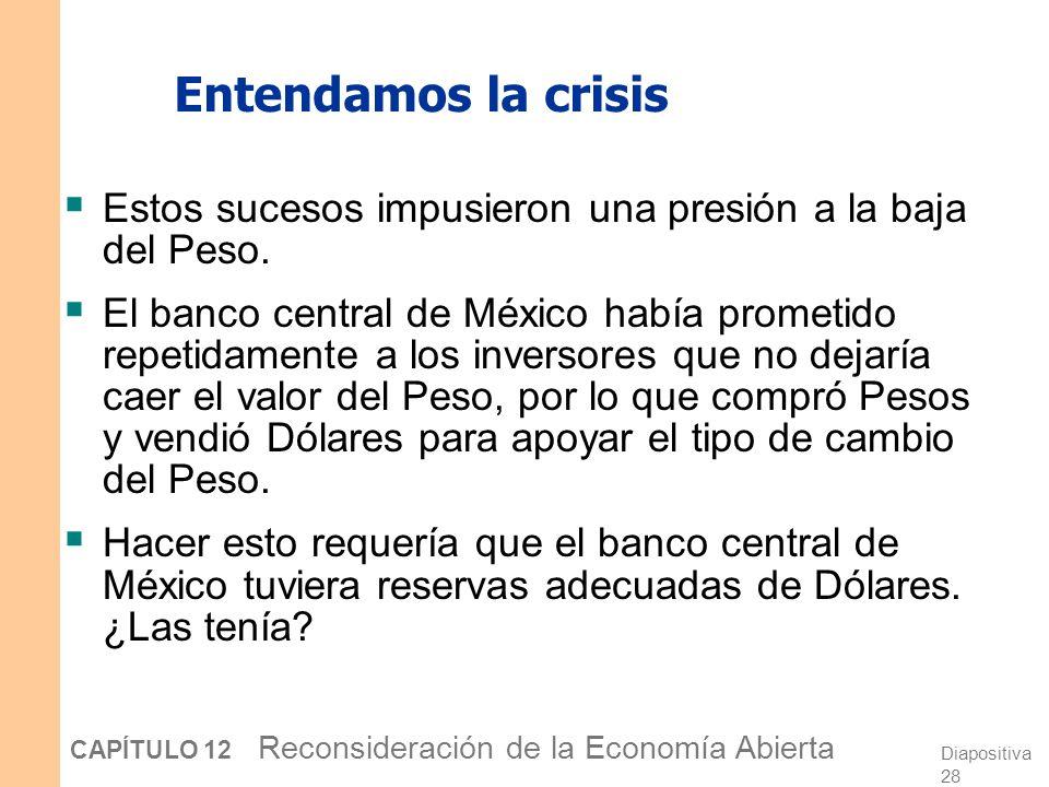 Entendamos la crisis Estos sucesos impusieron una presión a la baja del Peso.