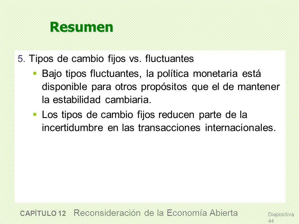 Resumen5. Tipos de cambio fijos vs. fluctuantes.
