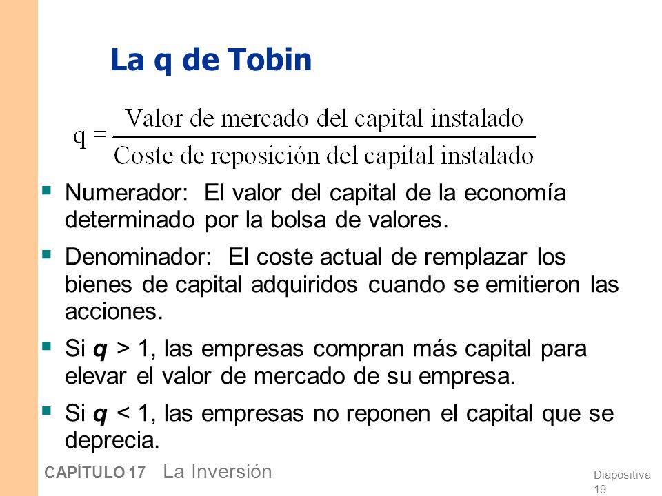 La q de Tobin Numerador: El valor del capital de la economía determinado por la bolsa de valores.