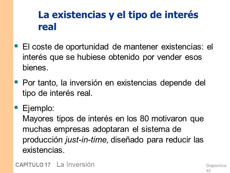 La existencias y el tipo de interés real