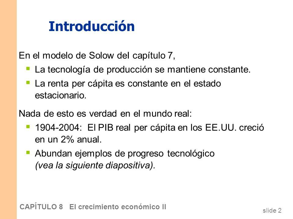 Introducción En el modelo de Solow deI capítulo 7,
