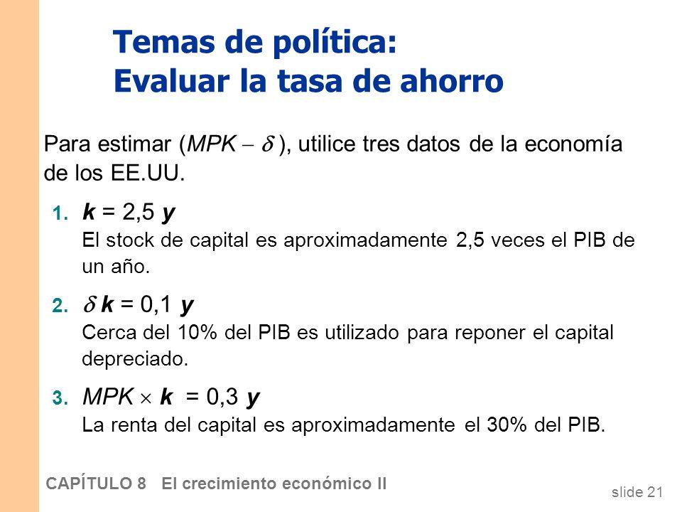 Temas de política: Evaluar la tasa de ahorro