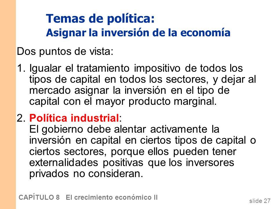 Temas de política: Asignar la inversión de la economía