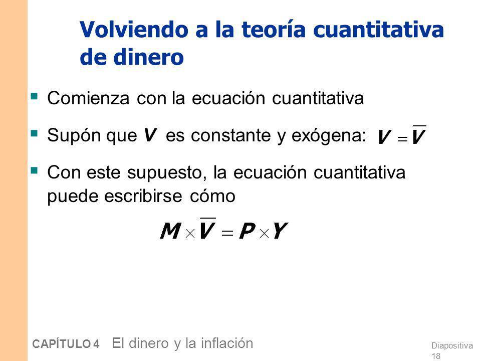 Volviendo a la teoría cuantitativa de dinero