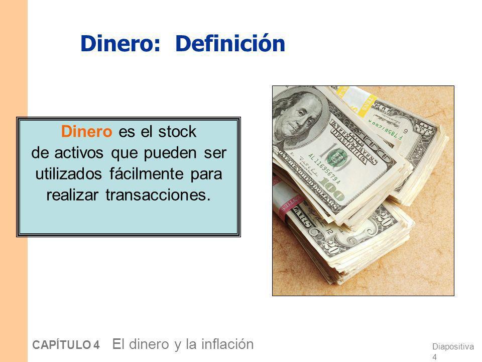Dinero: DefiniciónDinero es el stock de activos que pueden ser utilizados fácilmente para realizar transacciones.