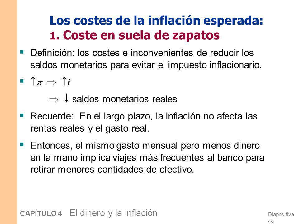 Los costes de la inflación esperada: 1. Coste en suela de zapatos