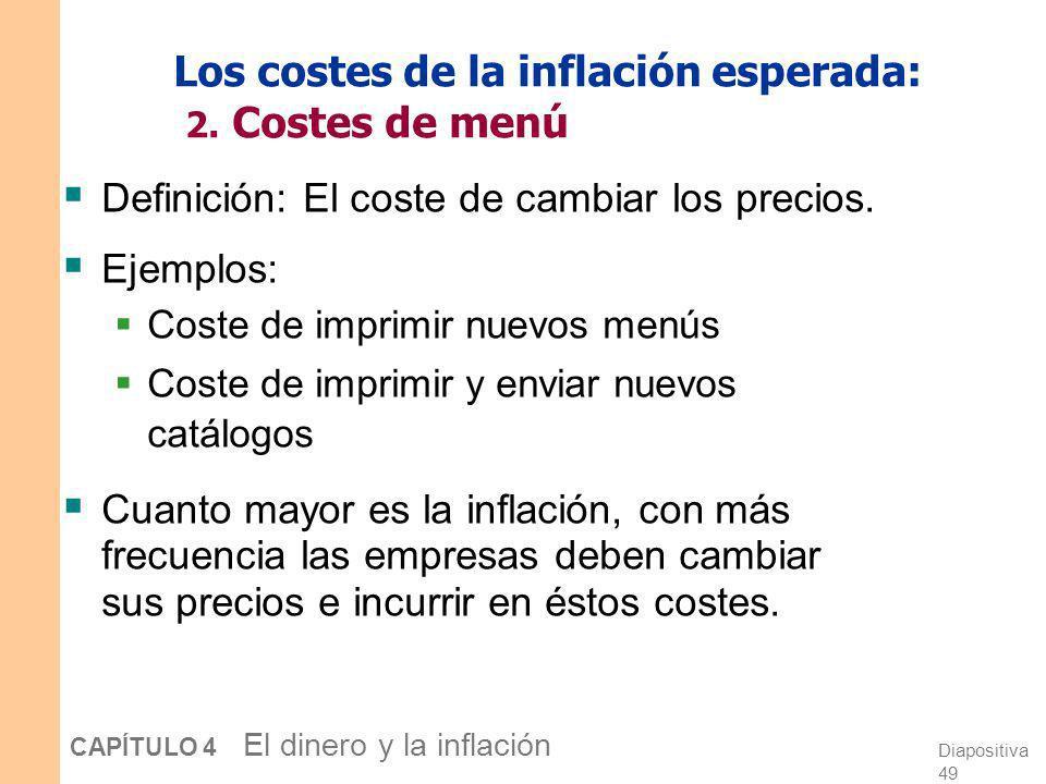 Los costes de la inflación esperada: 2. Costes de menú