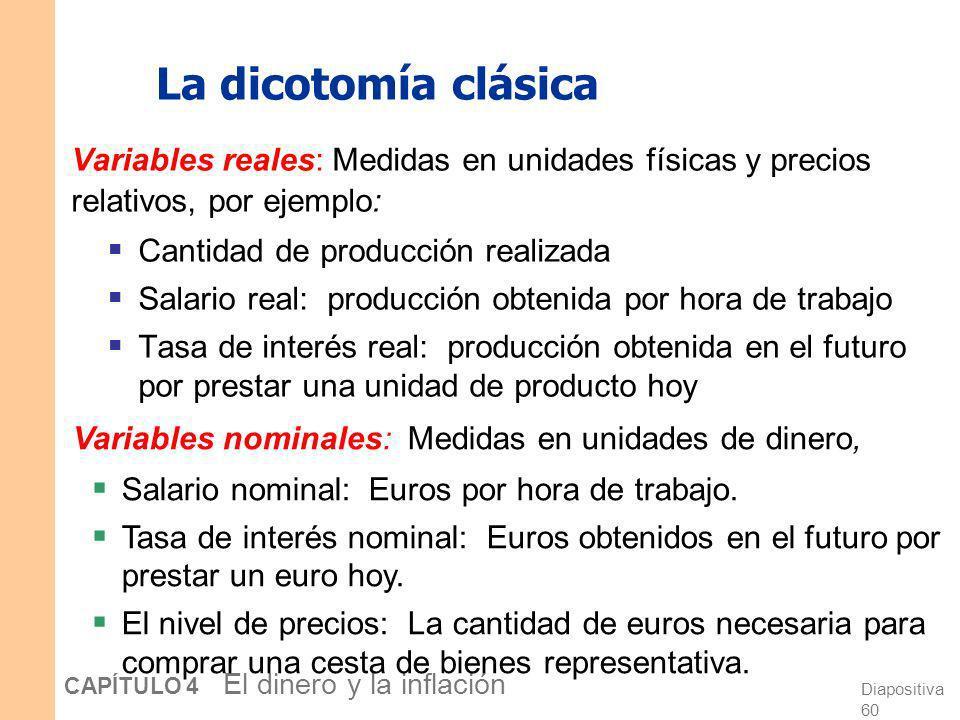 La dicotomía clásica Variables reales: Medidas en unidades físicas y precios relativos, por ejemplo: