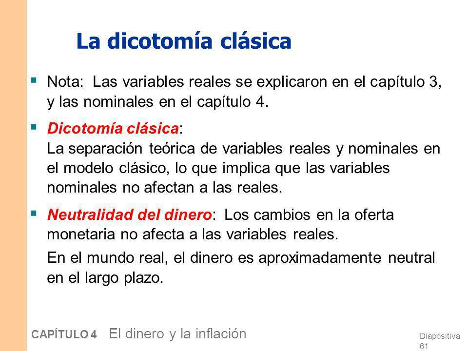 La dicotomía clásica Nota: Las variables reales se explicaron en el capítulo 3, y las nominales en el capítulo 4.