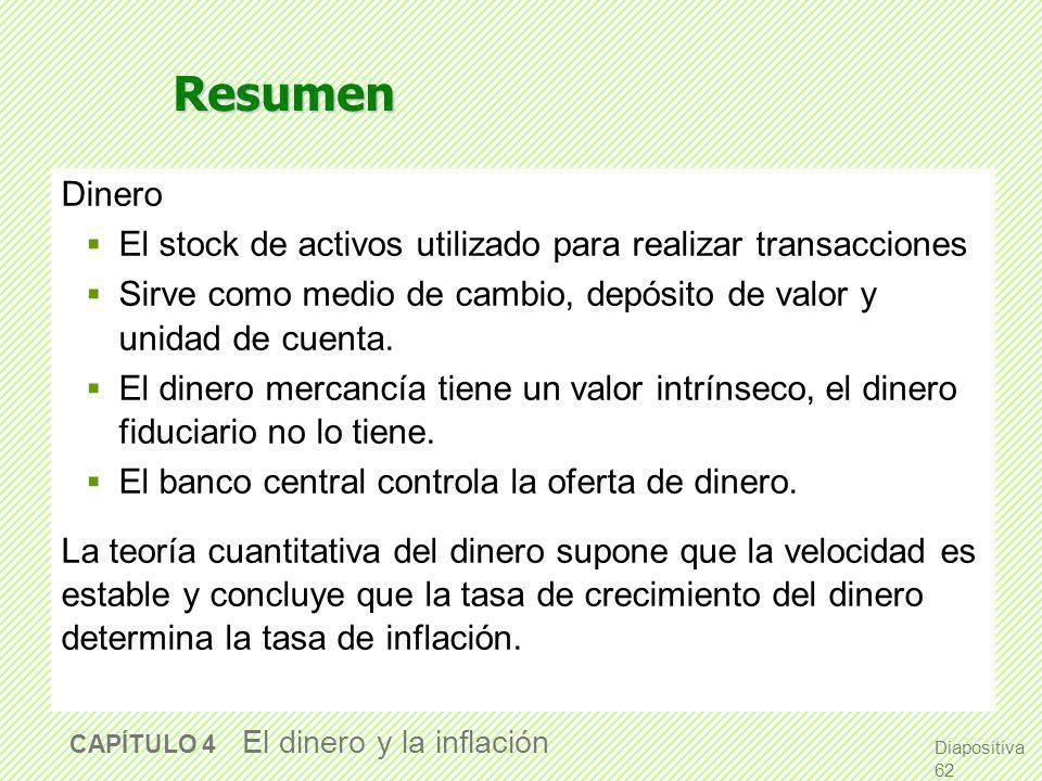 Resumen Dinero. El stock de activos utilizado para realizar transacciones. Sirve como medio de cambio, depósito de valor y unidad de cuenta.
