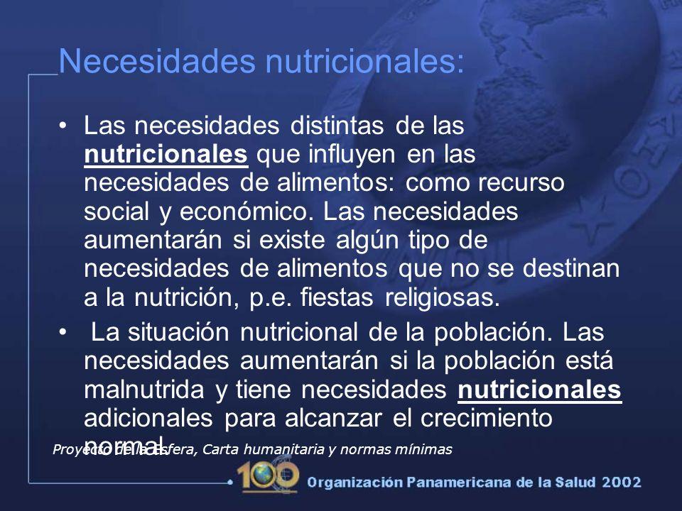 Necesidades nutricionales:
