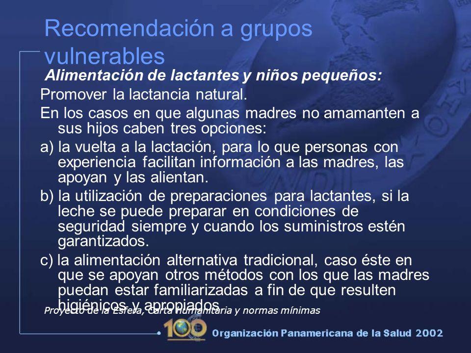 Recomendación a grupos vulnerables