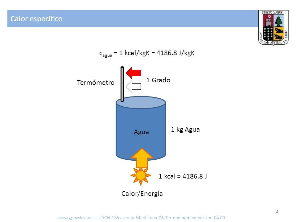 Calor especifico cagua = 1 kcal/kgK = 4186.8 J/kgK 1 Grado Termómetro