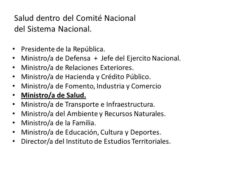 Salud dentro del Comité Nacional del Sistema Nacional.