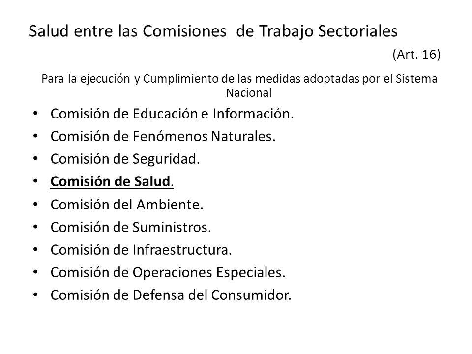 Salud entre las Comisiones de Trabajo Sectoriales (Art. 16)