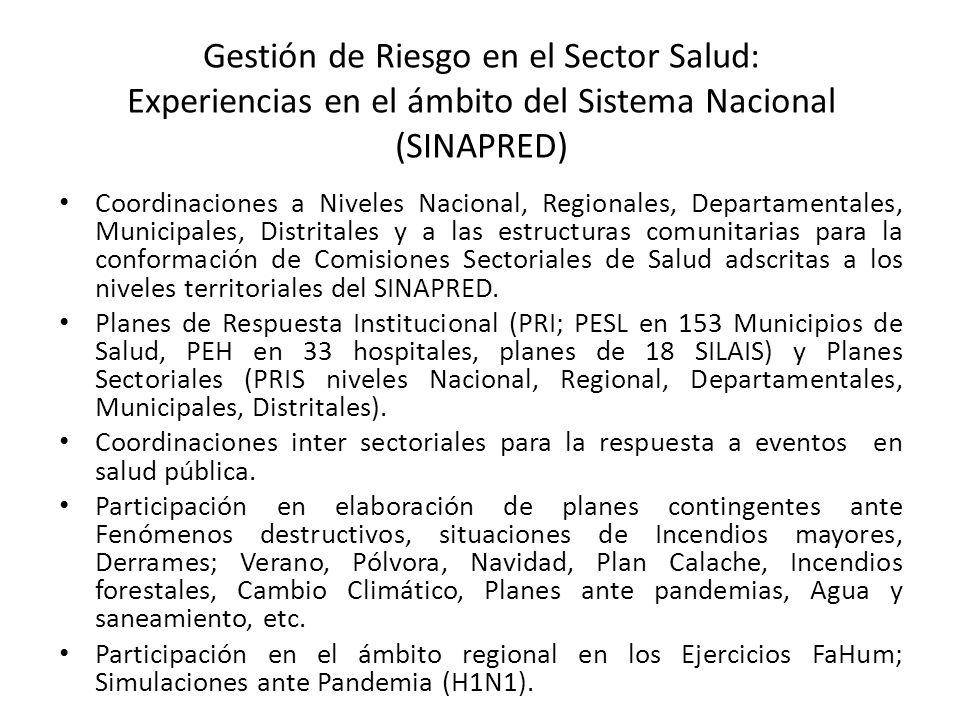 Gestión de Riesgo en el Sector Salud: Experiencias en el ámbito del Sistema Nacional (SINAPRED)