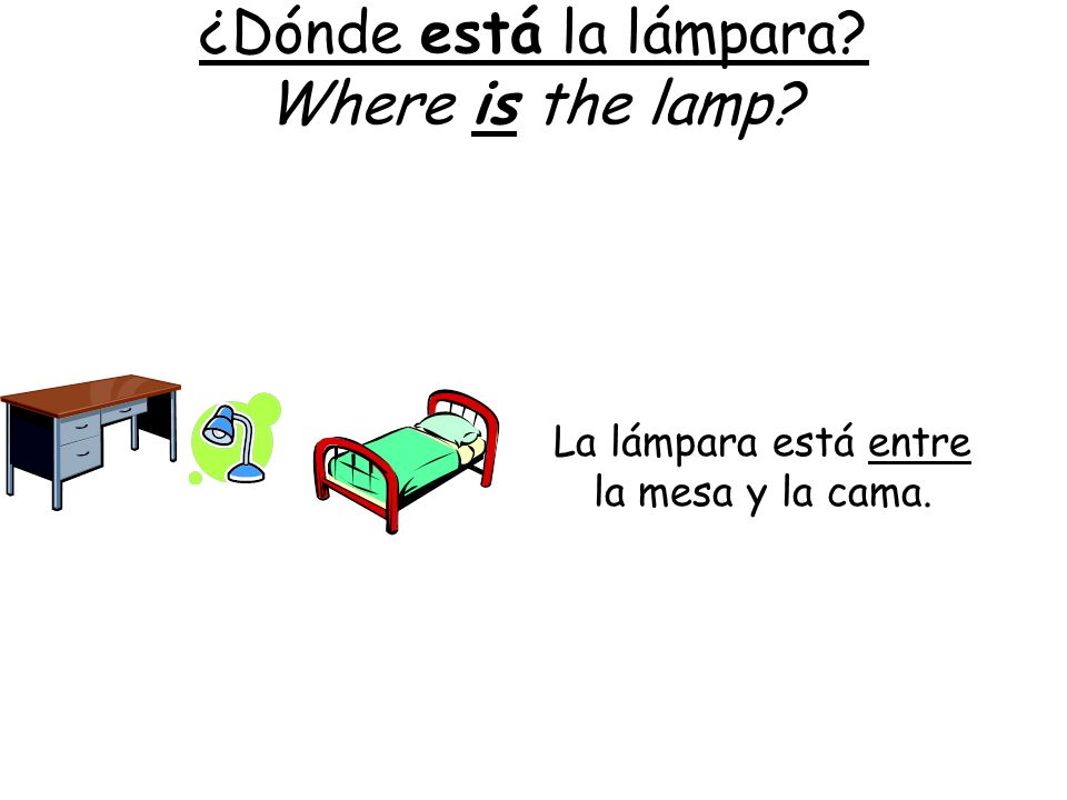¿Dónde está la lámpara Where is the lamp