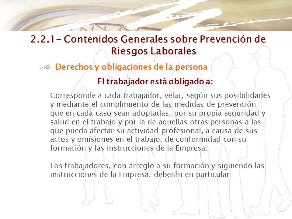 2.2.1- Contenidos Generales sobre Prevención de Riesgos Laborales