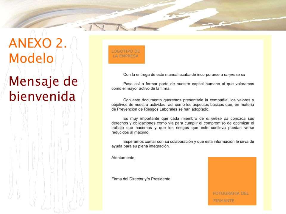 ANEXO 2. Modelo Mensaje de bienvenida