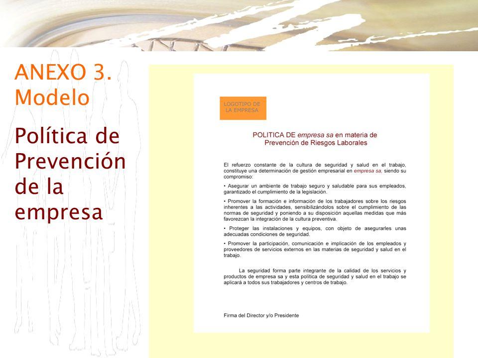 ANEXO 3. Modelo Política de Prevención de la empresa