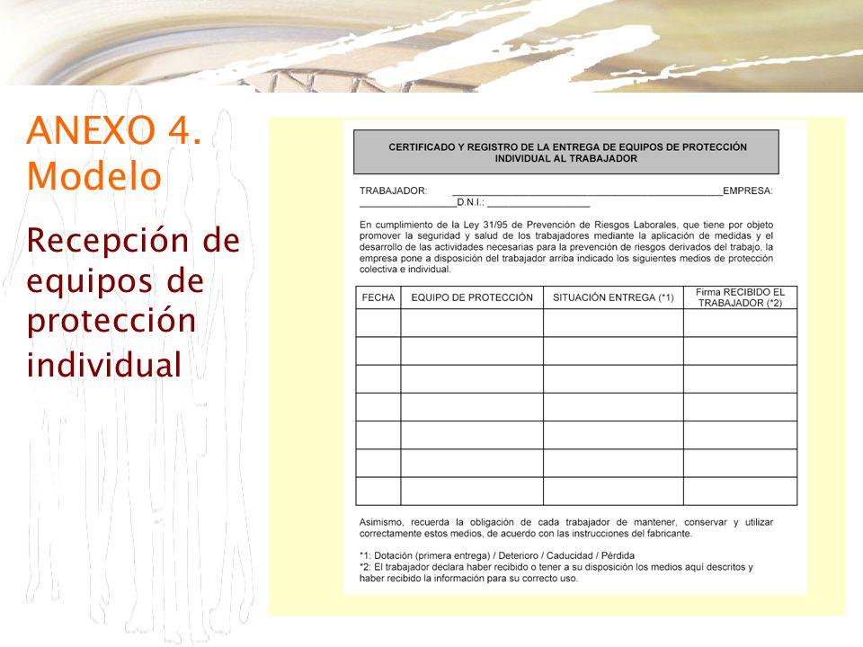 ANEXO 4. Modelo Recepción de equipos de protección individual