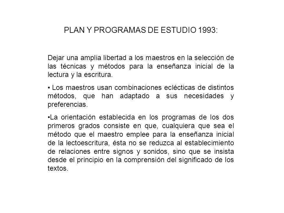 PLAN Y PROGRAMAS DE ESTUDIO 1993: