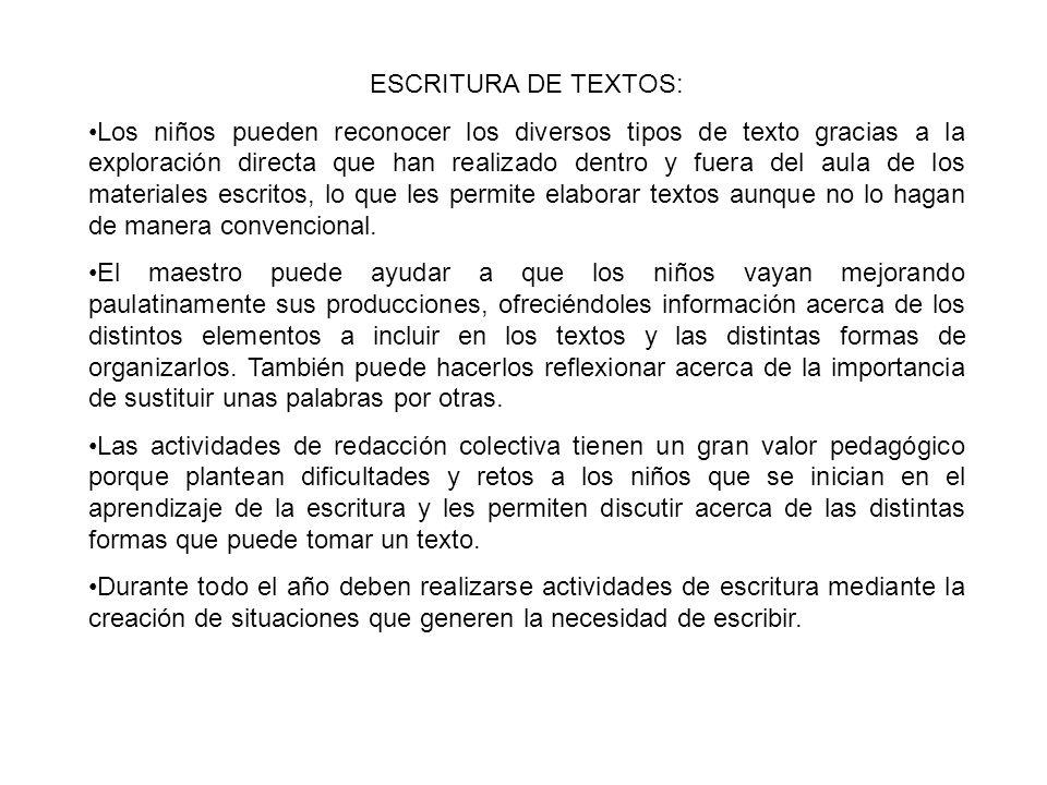 ESCRITURA DE TEXTOS: