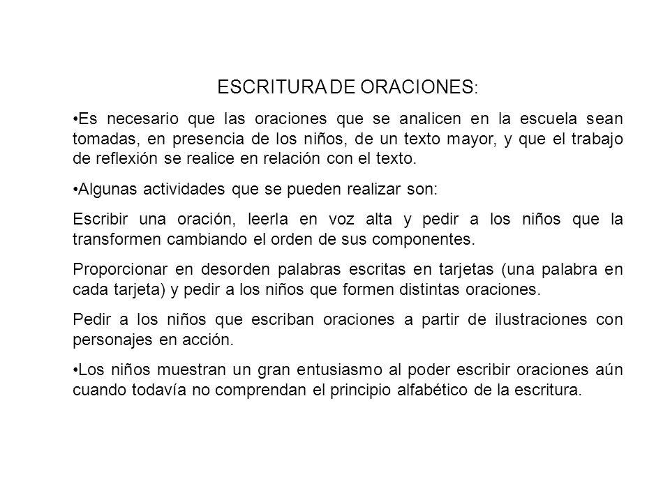 ESCRITURA DE ORACIONES: