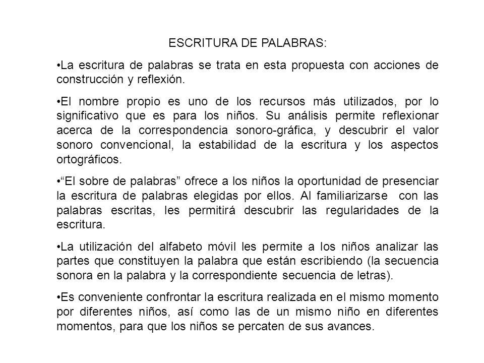ESCRITURA DE PALABRAS: