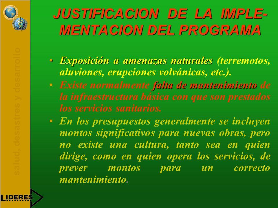 JUSTIFICACION DE LA IMPLE-MENTACION DEL PROGRAMA