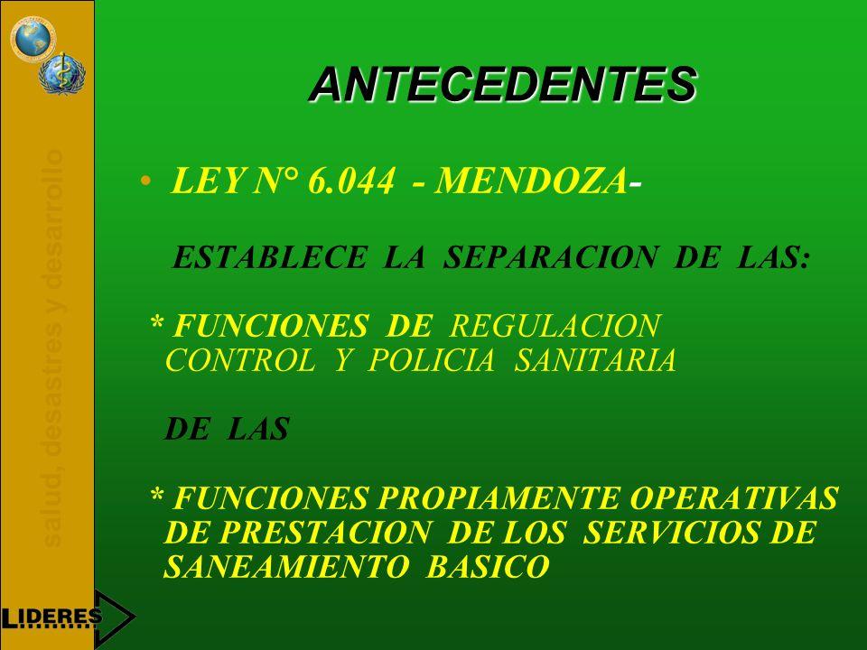 ANTECEDENTES LEY N° 6.044 - MENDOZA- ESTABLECE LA SEPARACION DE LAS: